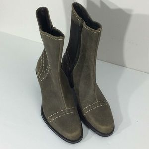 Clarks Olive Green Side Zip Leather Boots